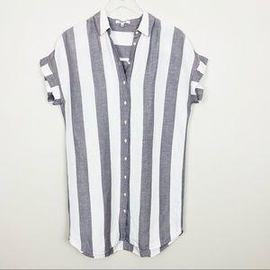 MADEWELL Maywood Stripe Shirtdress S Gray White